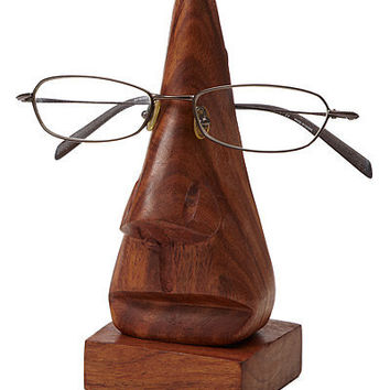 EYE GLASSES HOLDER | Wooden Nose Eyeglass Holder | UncommonGoods