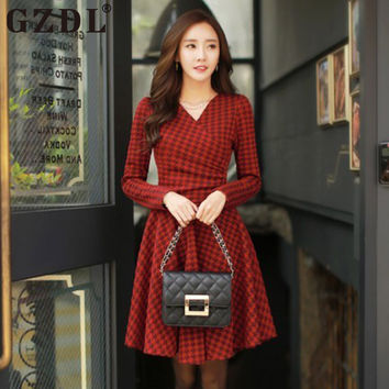 Women Elegant Long Sleeve V Neck Ruched Bodycon 2016 Autumn Back Zipper Design Skater Houndstooth Cocktail Party Mini Dress 2400