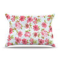 "Heidi Jennings ""Petals Forever"" Blue Pink Pillow Case"