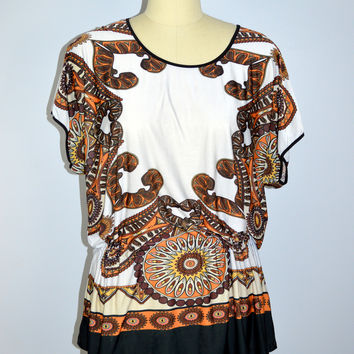 Milano Blouse Cinch Waist Paisley Size Large