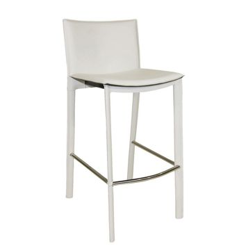 Panca Counter Stool White Bonded Leather Steel Frame