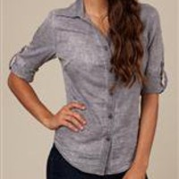 Women's Polos & Buttons | Burnout Woven Button-Down | Alternative Apparel
