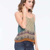Patrons Of Peace Cage V Back Womens Cami Multi  In Sizes
