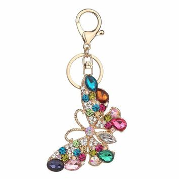 Rhinestone butterfly Keychain Fashion Accessories Charm Bag Pendant Key Chain Ring Holder Creative Jewelry Gift #40