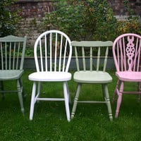 Instant shabby chic mismatch dining chair set please by emilyrosev