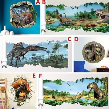 3D Jurassic Park dinosaur kids bedroom wall stickers waterproof home decals peel and stick children room decorations mural art f