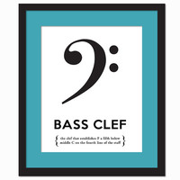 Bass Clef Black and White - Art Print - Musical Notation Typography Poster - Gift for Musician Music Teacher - 8 x 10 Wall Art Decor
