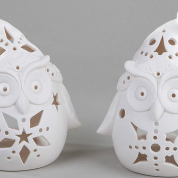 HOO's ready for the holidays? Owl lovers, Owl Candle Holders, Christmas Decor, Gift Ideas, Bundle, Set of two, Christmas Gift