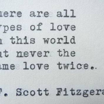 F SCOTT FITZGERALD Love Quote Made On Typewriter