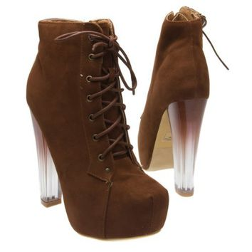 Fahrenheit Womens DORIS05 Closed Toe Lace Up Zip Ombre Lucite High Heel Hidden Platform Bootie Boot Shoes, Chocolate Brown Faux Suede, 6 B (M) US