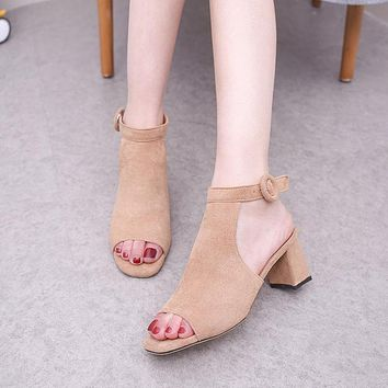 Suede Chunky Heel Peep-toe Ankle Strap Summer Sandals
