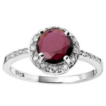 Sterling Silver Round Genuine Garnet & White Sapphire Halo Ring