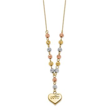14K Tri Color Gold Tri-color Diamond Cut Beads w/Love Heart Y-Necklace 18 Inch