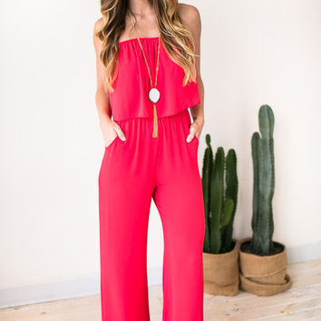 Haute Hues Lipstick Red Strapless Jumpsuit