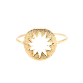 Handcrafted Brushed Metal Cut Out Sun in Circle Ring