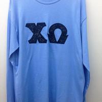 Chi Omega Sorority Medium Long Sleeve Shirt with Greek Letters -- Ready to Ship!