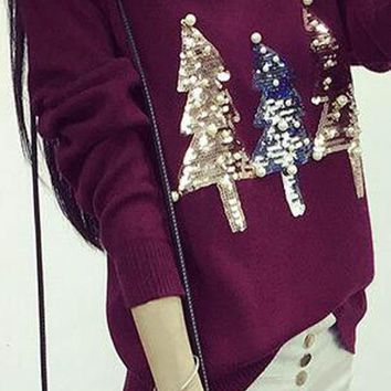 Burgundy Sparkly Sequin Christmas Tree Print Beading Cute Pullover Sweater Knit Jumper