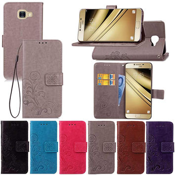 Leather Wallet Case for Samsung Galaxy C5 Lucky Clover Design PU Wallet Card Holder Stand Flip Phone Bags Cover for Galaxy C5