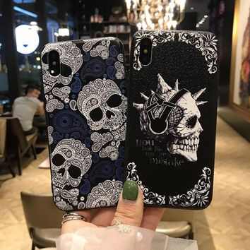 UYG for iPhone 8 case soft silicone & PC skull skeleton phone cases for iPhone X 8 Plus hard covers shockproof shell super funda