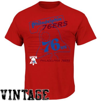Majestic Philadelphia 76ers Hardwood Classic Hook-Up T-Shirt - Red