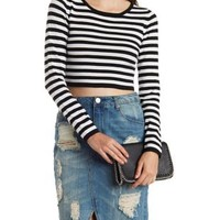 Black/White Cropped & Striped Scoop Neck Sweater by Charlotte Russe