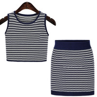 Fashion Round Neck Sleeveless Knit Two-Piece Outfits