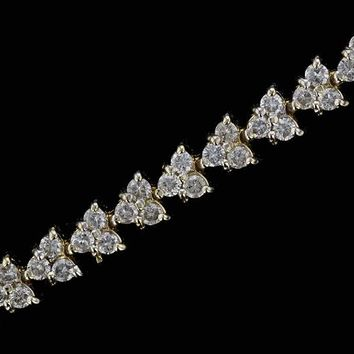 14k Yellow Gold Estate 5cttw Round Trillion Set Diamond Tennis Bracelet