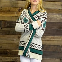 Mint Chocolate Chip Ivory Green Aztec Cardigan
