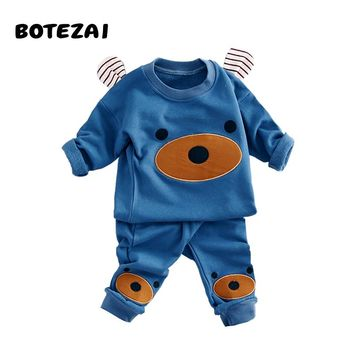 Children Clothing 2017 Autumn Winter Girls Boys Clothes Cartoon bear T shirt Pants 2pcs Kids Sport Suit Baby Boy Clothing Sets