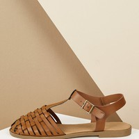 Woven Toe Buckled Ankle Huarache Flat Sandals
