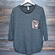 sequin pocket tunic in charcoal grey