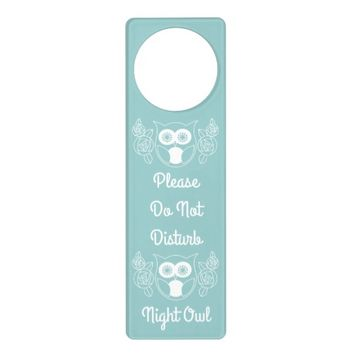 Up All Night? Cute Retro Owl and Roses Door Hanger