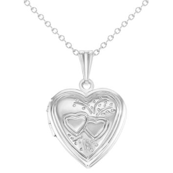 Love Two Hearts Small Memory Heart Photo Locket Girls Necklace Pendant 19