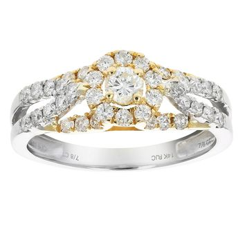0.15 Carats 7/8 CT Diamond Wedding Engagement Ring Set 14K Two Tone Gold