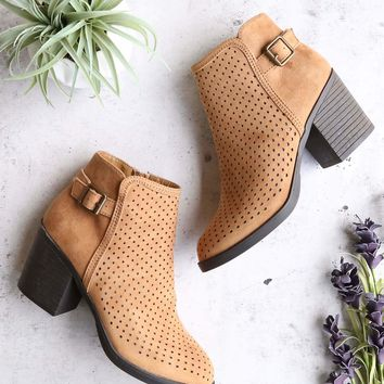 diamond perforated back buckle faux suede ankle bootie - tan