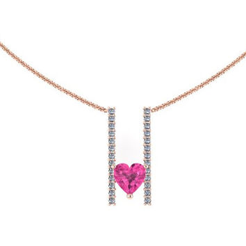 Heart Shape Black Diamond Necklace Pink Sapphire Necklace 14K Rose Gold Necklace with 6x6mm Heart Pink Sapphire Center - V1094