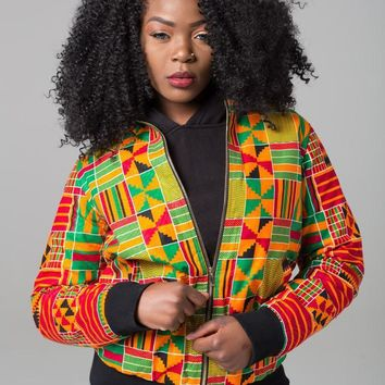 DARSJUCBD 2018 Autumn New Sexy Indie Folk Womens Jacket Coat Dashiki African Printed Zipper Bomber Jacket Coat High Quality