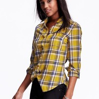Old Navy Womens Classic Plaid Flannel Shirt