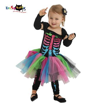 Eraspooky 2-4T Carnival Toddler Skeleton Tutu Dress Scary Halloween Costume for Kids Baby Gilrs Infant Bone Cosplay Outfit Set