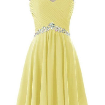 Homecoming Dress,Yellow Lace Chiffon Beadings Short Prom Dress