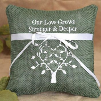 Wedding Ring Pillow 15*15cm Green Burlap Finger Waist Dual Side Laces Pillow Cushion Romantic Bridal Wedding Party Pillows
