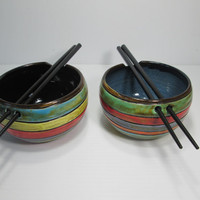 Pair of ceramic rice & noodle bowls