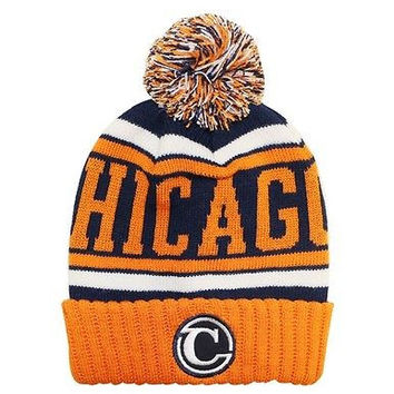 Chicago City Beanie Color PomPom Hat Winter Knit w POM Ribbed Cuff