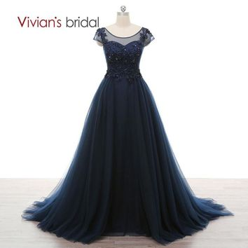 Bridal Sequin A Line Evening Dress Scoop Neck Cap Sleeve Multi Layer Tulle Lace Formal Evening Gowns