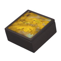 Yellow autumn maple leaves. Add you text or name. Gift Box