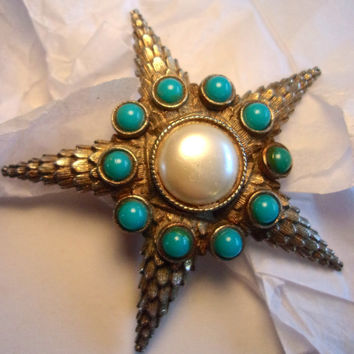 Starfish/Star Unsigned DeNicola Brooch, Domed, Faux Turquoise Pearl, Vintage