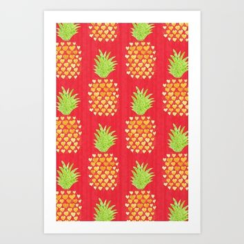 Heart Pineapples Art Print by Noonday Design