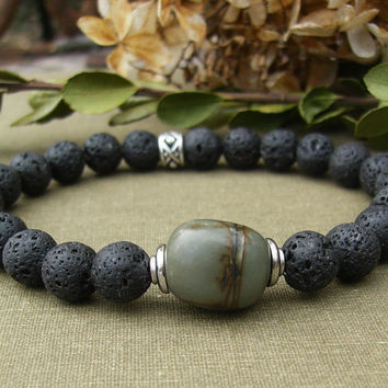 Men's Lava Bracelet, Black Stone, Red Creek Jasper, Green Gemstone, Silver, Rustic, Unisex, Stretch, Casual, Lava Stone Jewelry, Gift Idea