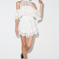 White Cold Shoulder Lace Romper