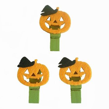10pcs/lot Lovely Halloween Pumpkin Wooden Clip DIY Clips Photo Clothespin Craft Clips Party Decoration Clip Gift and Favors